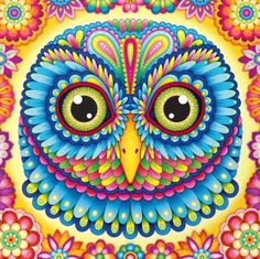 A colorful Owl print with feathers in electric vibrant colors. By artist Thaneeya McArdle. Animal Coloring Pages, Free Coloring Pages, Coloring Books, Colouring, Adult Coloring, Jigsaw, Origami, Owl Species, Whimsical Owl