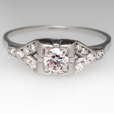 1/4 Carat 1930's Old Euro Diamond Ring 18K