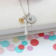 A silver birthstone cross pendant necklace is a lovely personalised charm jewellery gift for a November birthday Gemstone Bracelets, Gemstone Necklace, Crystal Necklace, Pendant Necklace, Topaz Jewelry, Charm Jewelry, Jewelry Gifts, Jewellery, Birthstone Charms