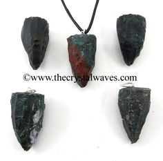 Blood Agate Handknapped Cone Shape Pendant