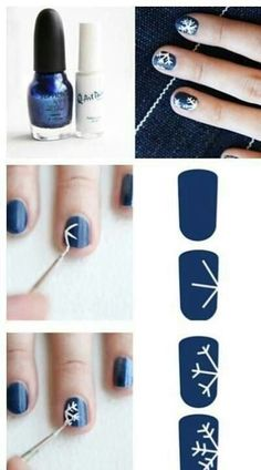 Snowflake Nails- use a toothpick to help