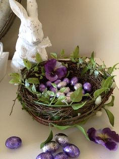 DIY - place Easter candies (chocolate eggs) in grapevine birds' nest