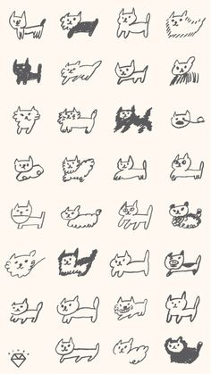 Art Sketches, Art Drawings, Illustrations And Posters, Cute Icons, Pretty Art, Cute Tattoos, Cat Art, Cute Wallpapers, Tatting