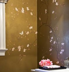 Cherry blossom and butterfly stencil/mural idea-- love this Gold Painted Walls, Painted Paneling Walls, Hand Painted, Mural Painting, House Painting, Cherry Blossom Tree, Cherry Tree, Asian Design, Bathroom Colors
