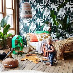 Gorgeous Wallpaper | kids | bedroom | colourful | palms | botanic | lighting | More inspirations at http://brabbu.com/moodboards/?utm_source=pinterest&utm_medium=ambience&utm_content=dmartins&utm_campaign=Pinterest_Inspirations
