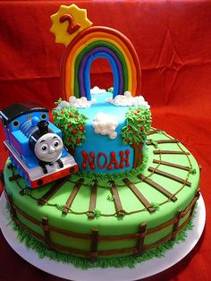 Thomas The Tank Engine Tiered Cake Made for Birthday Cakes 4 Free Twin Cities MN volunteer baking project. This was for a 2 year old boy. Thomas Birthday Cakes, Thomas Birthday Parties, Thomas Cakes, Birthday Cake For Him, Novelty Birthday Cakes, Birthday Desserts, Cool Birthday Cakes, 2nd Birthday, Birthday Ideas