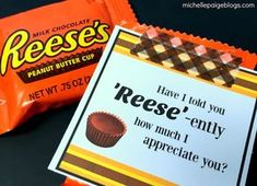 michelle paige blogs: Reese's Peanut Butter Cups Appreciation Gift Employee Appreciation Gifts, Volunteer Appreciation, Employee Gifts, Teacher Appreciation Week, Pastor Appreciation Ideas, Employee Morale, Staff Morale, Staff Gifts, Volunteer Gifts