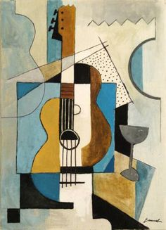 Items similar to Print Art Reproduction best gift Cubist Painting acrylic Art Modern Abstract Guitar Music Instruments Contemporary Signed Emanuel Ologeanu on Etsy Abstract Canvas, Canvas Art, Painting Abstract, Abstract Geometric Art, Canvas Size, Cubist Paintings, Cubist Artists, Cubist Drawing, Modern Art Paintings