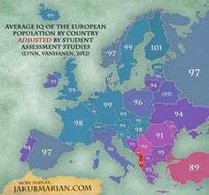 """A note from the creator of this map: """"Quality of education greatly influences IQ scores, i. a lower average IQ is more indicative of lower access to wide-scale quality education rather than innate intelligence. European Map, European History, World History, Family History, History Memes, Country Maps, Old Maps, Historical Maps, Beauty"""