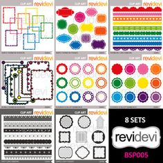 Clip art resource for teacher seller - clipart bundle (rainbow colors and gray). A fun collection of scallops, ribbons, tags, long ribbons, frames in bright rainbow colors, and also in shades of gray.Within your purchase, you will get 8 sets.This digital clipart bundle is great resource for teachers and educators.