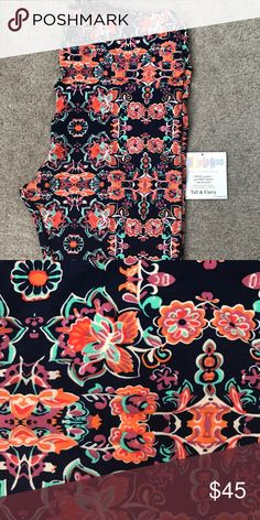 LuLaRoe TC orange/navy background BNWOT brand new just didn't come with tags. Navy background. NOT black. Smoke free and pet free home. LuLaRoe Pants Leggings
