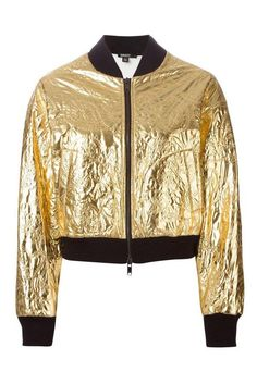 How to add fashionable metallic pieces into your everyday outfit! Gold bomber jacket.