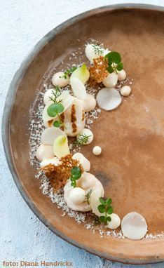 chefRecept Filip Claeys - Gegrilde coquilles met noten, bloemkool en ui | De tafel van Tine Gourmet Food Plating, Michelin Food, Tapas, Ny Food, Bistro Food, Coquille Saint Jacques, Xmas Food, Food Design, Food Presentation