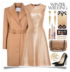 """True Romance: Winter Wedding"" by itsybitsy62 ❤ liked on Polyvore featuring BOSS Hugo Boss, Lela Rose, Chanel, Jimmy Choo, Sydney Evan, Casetify, Jennifer Fisher, Cara, NARS Cosmetics and winterwedding"