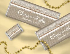 Burlap Wedding Ideas: Personalized candy bar wedding favors with a burlap and lace theme featuring your names and wedding date. Add a thank you message to the back of the candy wrapper for an extra sweet memento!