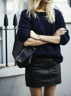 Leather + chunky knit