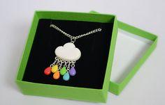 Rainbow Rain Cloud Necklace - Polymer Clay Cloud Pendant with Rainbow Rain Drops - Jewellery