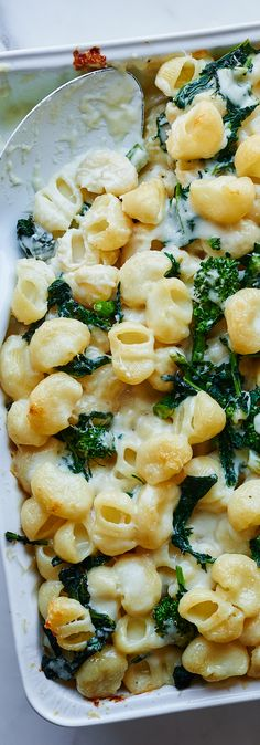 Creamy Mac and cheese with broccoli rabe