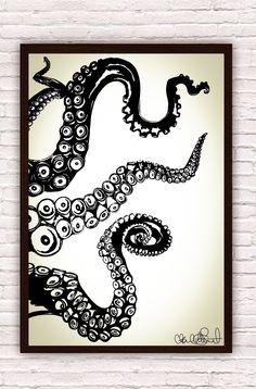 Octopus Kraken Tentacles // Nautical Ocean Wall Art // Home Decor / Beach Decor // Poster Print by Clarafornia on Etsy https://www.etsy.com/listing/194841732/octopus-kraken-tentacles-nautical-ocean
