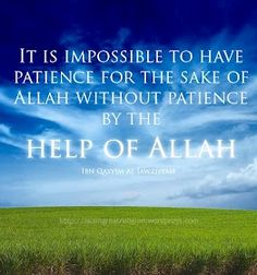 Patience for the sake of Allah Allah Quotes, Hindi Quotes, Islamic Qoutes, Having Patience, Good Advice, Ramadan, Quran, The Help, Motivation