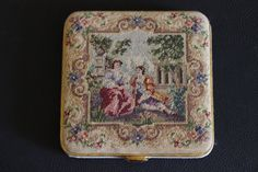 Vintage Compact Scenic Petit Point Purse Needlepoint Tapestry maybe Stransky