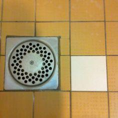 Shower. Floor. Tiles. Lines.