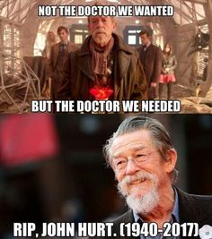 "John Hurt, ""you were the Doctor on the day it wasn't possible to get it right."""
