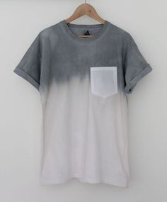 t-shirt pocket hipster dip dye menswear unisex girls grey white shirt dipdye t-shirt faded grey gray t-shirts pocket t shirt pocket tee ombré skater