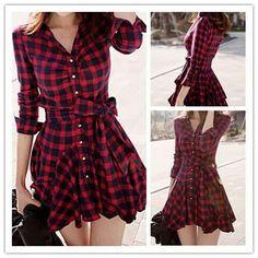 Plaid pattern dress