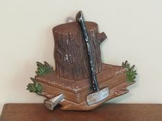 Vintage Axe and Stump Wall Hanging  rustic decor  by MaryAndGeneva