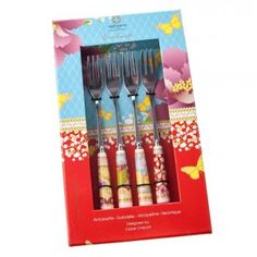 Enchante Set of 4 Cake/ Pastry Forks - China Handles
