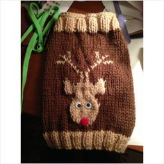 "Hand Knitted Dog Sweater 4"" christmas rudolf pet top warm chihuahua BNWT on eBid United Kingdom"