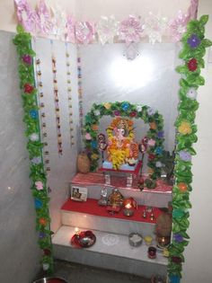 Here are some simple, easy Ganesh Chaturthi decoration ideas for home. These ideas for Ganpati decoration at home are new, fresh, creative and innovative. Pooja Room Door Design, Home Room Design, Ganesh Chaturthi Decoration, Architect Design House, Ganpati Decoration At Home, India Home Decor, Interior Wall Colors, Puja Room, Minimalist Room