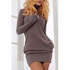 Brief Turtleneck Pure Color Long Sleeve Dress For Women (GRAY,XL) in Long Sleeve Dresses | DressLily.com