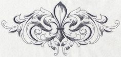 Fleur De Lis Corner | ... Embroidery Designs at Embroidery Library! - Baroque Fleur de Lis Spray
