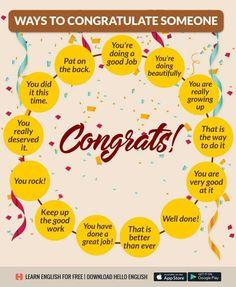Other Ways to Say Congratulations! Hello English, English Fun, English Idioms, English Phrases, Learn English Words, English Study, English Vocabulary, English Grammar, English Tips