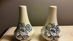 Two Vintage Made in England Salt N Pepper Shakers ~ Floral design Very Old