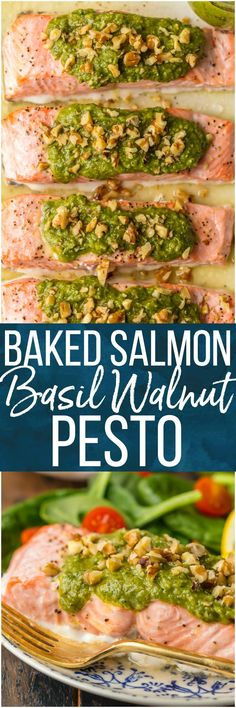 Baked Salmon with Basil Walnut Pesto is our favorite simple yet elegant seafood dinner. This Pesto Salmon Recipe is bursting with flavor and good fat. The tender flakey salmon is basted in butter, white wine, and lemon juice before baking and then topped with an amazing nutty and rich Basil Walnut Pesto. Best Salmon Recipe ever! #salmon #seafood #nuts #walnuts #basil #pesto #healthy #diet #skinny #baked via @beckygallhardin