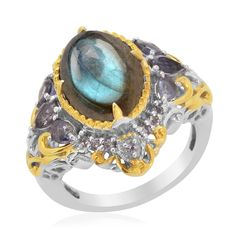 Liquidation Channel: Labradorite and Iolite Ring in Platinum Overlay Sterling Silver (Nickel Free)
