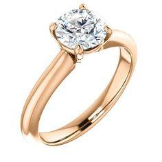 1.0 Ct Round Ring 14k Rose Gold