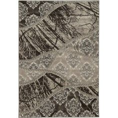 Jewel Power-Loomed Multi-Pattern 2' x 3' Rug, Brown/Light Brown