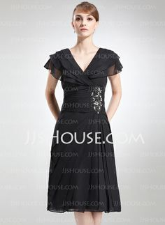 Mother of the Bride Dresses - $126.99 - A-Line/Princess V-neck Knee-Length Chiffon Mother of the Bride Dress With Ruffle Beading (008006041) http://jjshouse.com/A-Line-Princess-V-Neck-Knee-Length-Chiffon-Mother-Of-The-Bride-Dress-With-Ruffle-Beading-008006041-g6041