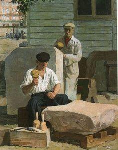 aleksander kobzdej, kamieniarze 1952 Contemporary, History, Painting, Image, Art, Polish, Idea Paint, Art Production, Art Background