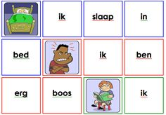zinnen maken - Plaatjes en woorden. Met de woorden dient het kind een logische zin te maken bij ieder plaatje.    Zowel in drukletters als in Tazelaar