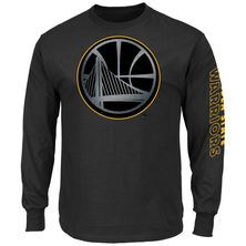Men's Golden State Warriors Majestic Black Up and Over Long Sleeve T-Shirt