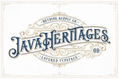 Buy Java Heritages Typeface by Heybing on GraphicRiver. Java Heritages Typeface is a multi-layered type family with opentype features, inspired by vintage signage that have . Vintage Fonts, Vintage Designs, Vintage Typography, Graphics Vintage, Vector Graphics, Vintage Graphic, Retro Vintage, Typography Art, Vintage Type