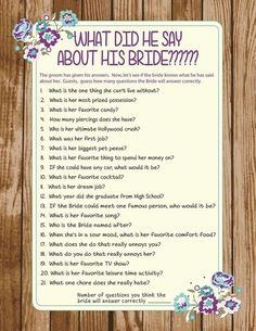 Bridal Shower Game - instead of what he answered, get his answers and then ask what the question was
