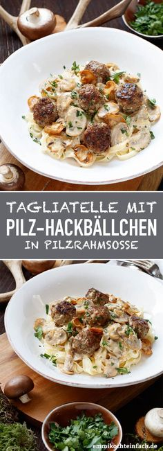 with mushroom meatballs in mushroom cream sauce - easy to cook - Tagliatelle with mushroom meatballs in mushroom cream sauce – www.emmikochteinf … -Pasta with mushroom meatballs in mushroom cream sauce - easy to cook - Tagliatelle with mus. Hamburger Meat Recipes, Sausage Recipes, Beef Recipes, Vegetarian Recipes, Healthy Recipes, Shellfish Recipes, Seafood Recipes, Pasta Recipes, Mushroom Meatballs