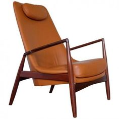 Swedish Seal Leather Easy Chair by Ib Kofod-Larsen for OPE, 1960s in vendita su Pamono