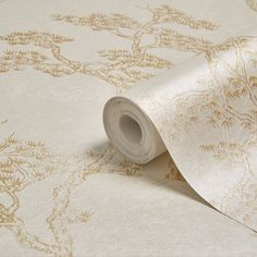 Graham & Brown Fibrous Richmond Gold & White Trees & Birds Metallic Wallpaper | Departments | DIY at B&Q